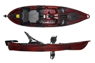 Riot Kayaks Mako 10 Affordable Pedal Drive Sit On Top Kayak Red and Black Fire Storm Colour