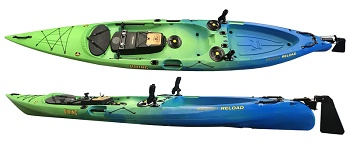 Viking Profish Reload Railblaza Edition with fitted rudder and accessories in Blue/Green